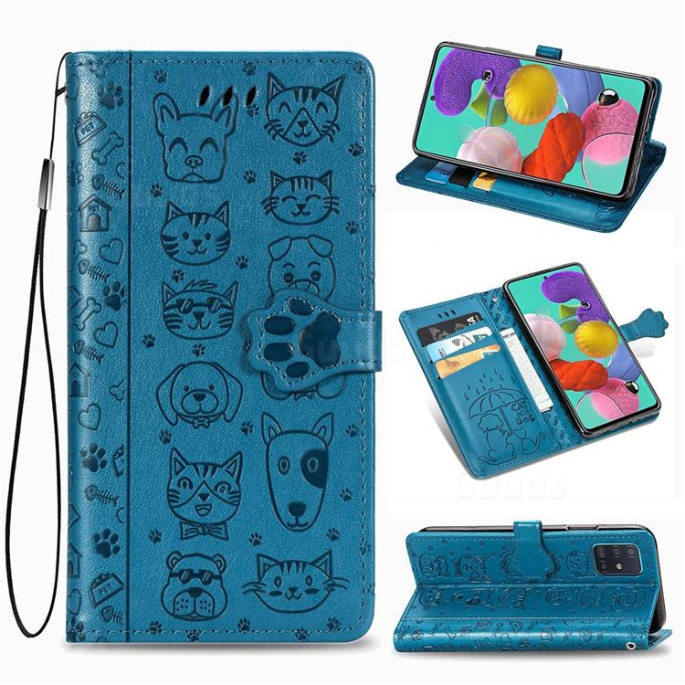 Embossing Dog Paw Kitten and Puppy Leather Wallet Case for Samsung Galaxy A51 5G - Blue