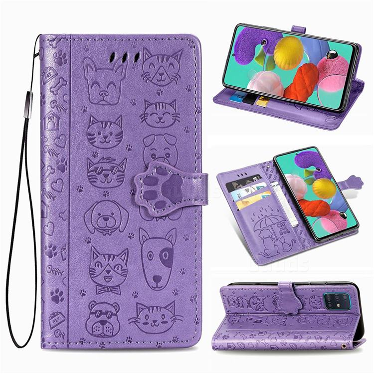 Embossing Dog Paw Kitten and Puppy Leather Wallet Case for Samsung Galaxy A51 5G - Purple