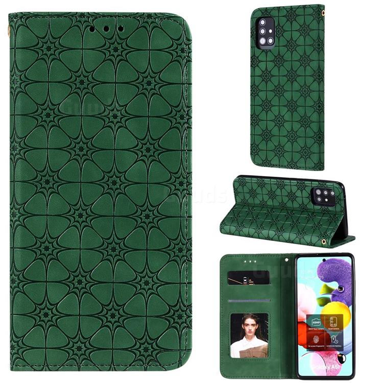 Intricate Embossing Four Leaf Clover Leather Wallet Case for Samsung Galaxy A51 5G - Blackish Green