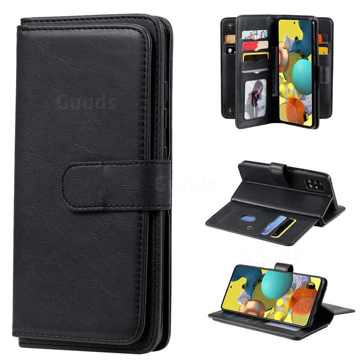 Multi-function Ten Card Slots and Photo Frame PU Leather Wallet Phone Case Cover for Samsung Galaxy A51 5G - Black