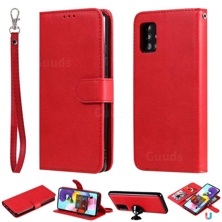 Retro Greek Detachable Magnetic PU Leather Wallet Phone Case for Samsung Galaxy A51 5G - Red