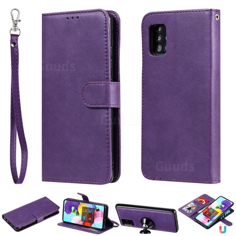Retro Greek Detachable Magnetic PU Leather Wallet Phone Case for Samsung Galaxy A51 5G - Purple