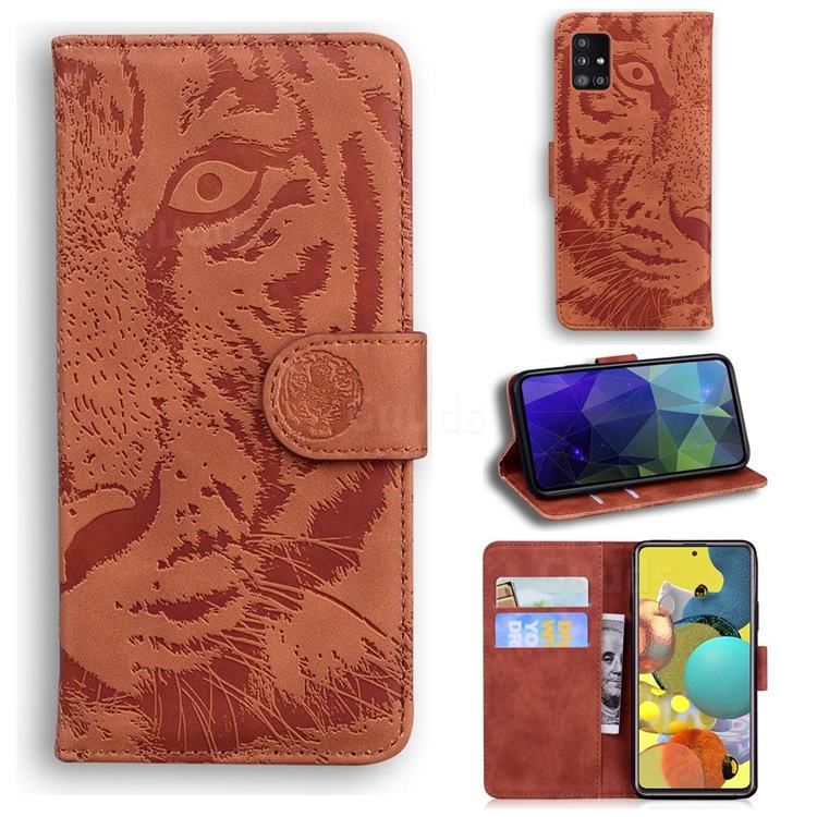 Intricate Embossing Tiger Face Leather Wallet Case for Samsung Galaxy A51 5G - Brown