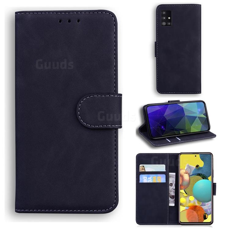 Retro Classic Skin Feel Leather Wallet Phone Case for Samsung Galaxy A51 5G - Black