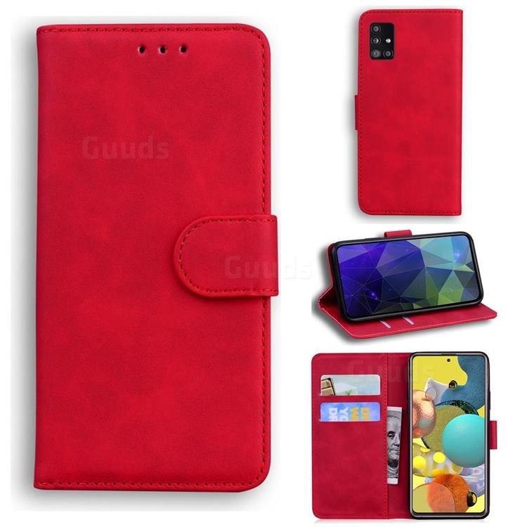 Retro Classic Skin Feel Leather Wallet Phone Case for Samsung Galaxy A51 5G - Red