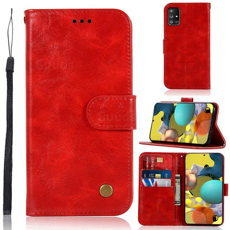 Luxury Retro Leather Wallet Case for Samsung Galaxy A51 5G - Red