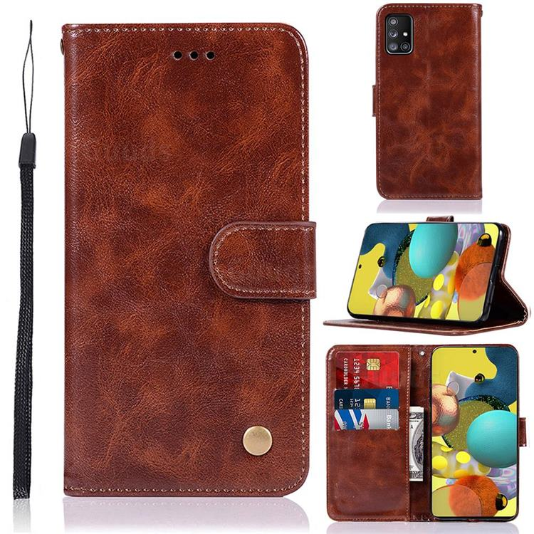 Luxury Retro Leather Wallet Case for Samsung Galaxy A51 5G - Brown