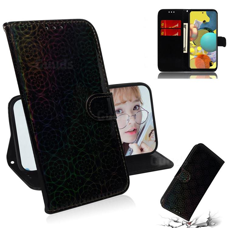 Laser Circle Shining Leather Wallet Phone Case for Samsung Galaxy A51 5G - Black