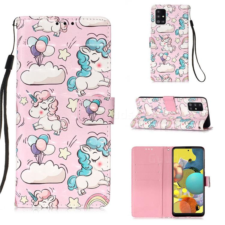 Angel Pony 3D Painted Leather Wallet Case for Samsung Galaxy A51 5G