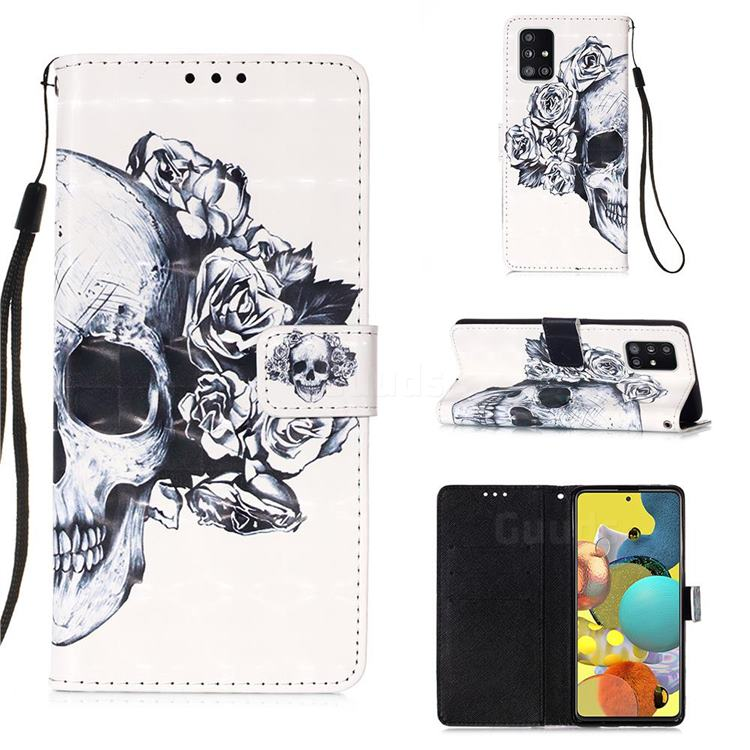 Skull Flower 3D Painted Leather Wallet Case for Samsung Galaxy A51 5G