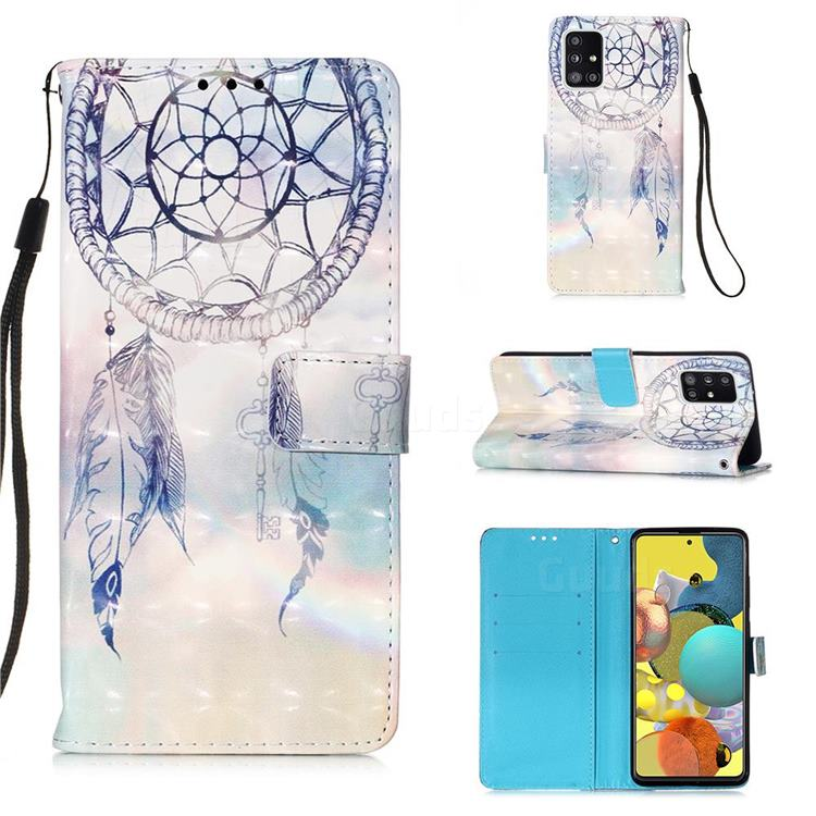 Fantasy Campanula 3D Painted Leather Wallet Case for Samsung Galaxy A51 5G
