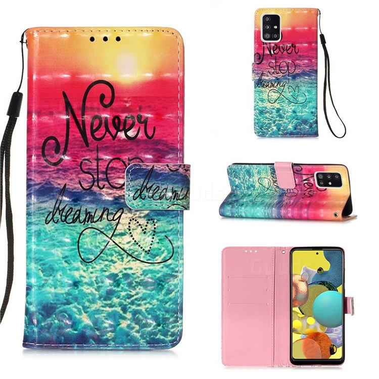 Colorful Dream Catcher 3D Painted Leather Wallet Case for Samsung Galaxy A51 5G