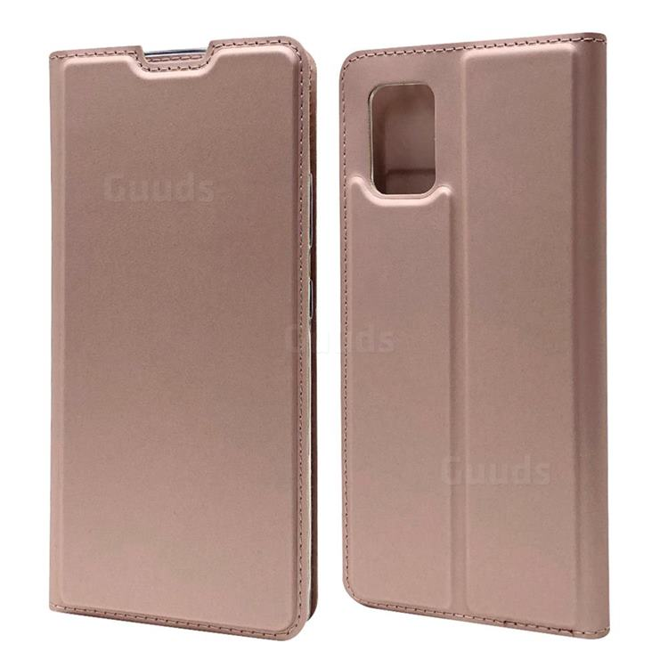 Ultra Slim Card Magnetic Automatic Suction Leather Wallet Case for Samsung Galaxy A51 5G - Rose Gold