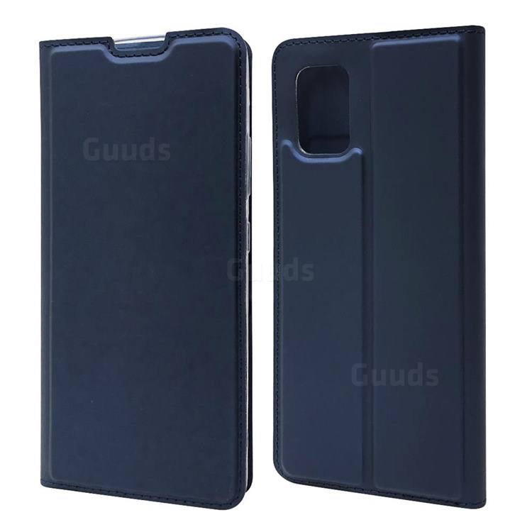 Ultra Slim Card Magnetic Automatic Suction Leather Wallet Case for Samsung Galaxy A51 5G - Royal Blue
