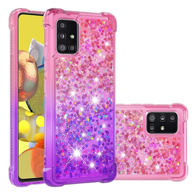 Rainbow Gradient Liquid Glitter Quicksand Sequins Phone Case for Samsung Galaxy A51 5G - Pink Purple