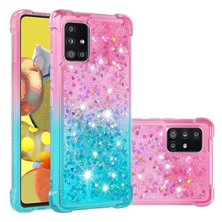 Rainbow Gradient Liquid Glitter Quicksand Sequins Phone Case for Samsung Galaxy A51 5G - Pink Blue