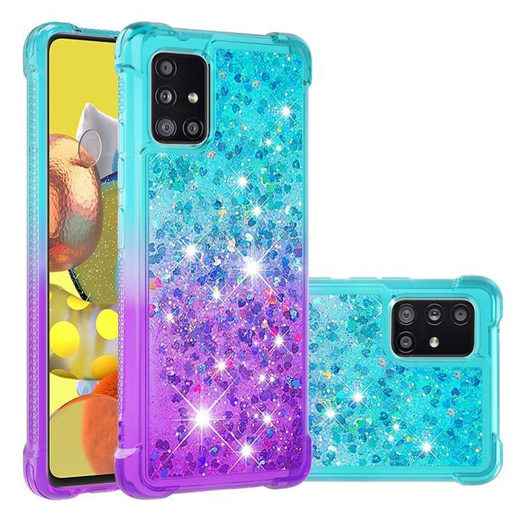 Rainbow Gradient Liquid Glitter Quicksand Sequins Phone Case for Samsung Galaxy A51 5G - Blue Purple
