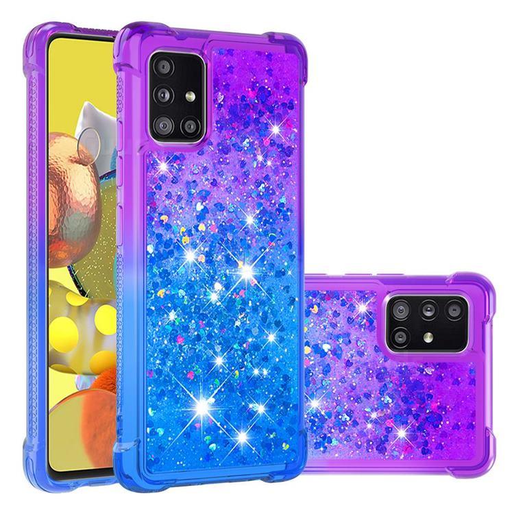 Rainbow Gradient Liquid Glitter Quicksand Sequins Phone Case for Samsung Galaxy A51 5G - Purple Blue
