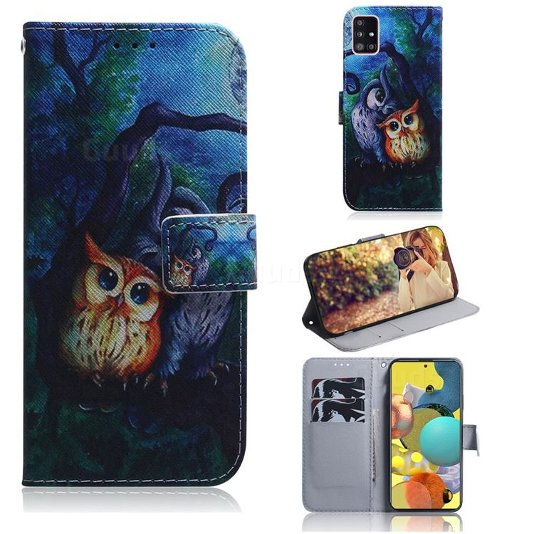 Oil Painting Owl PU Leather Wallet Case for Samsung Galaxy A51 5G