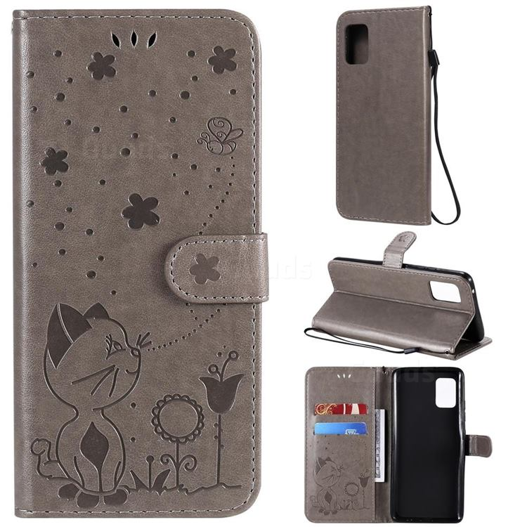 Embossing Bee and Cat Leather Wallet Case for Samsung Galaxy A51 5G - Gray