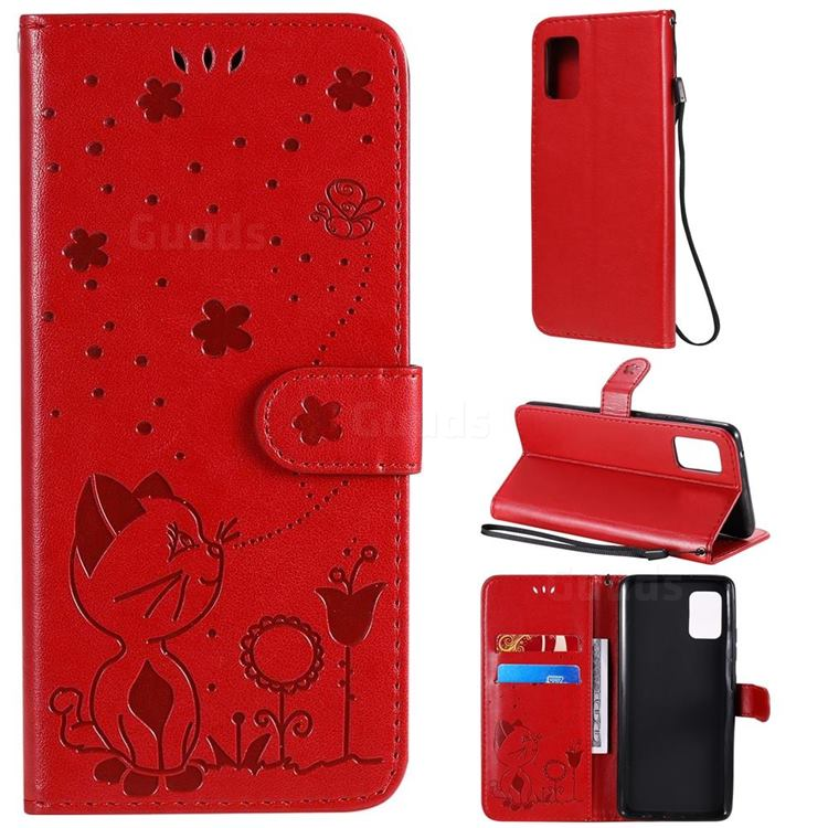Embossing Bee and Cat Leather Wallet Case for Samsung Galaxy A51 5G - Red