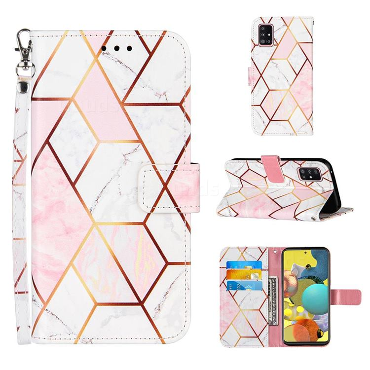 Pink White Stitching Color Marble Leather Wallet Case for Samsung Galaxy A51 5G