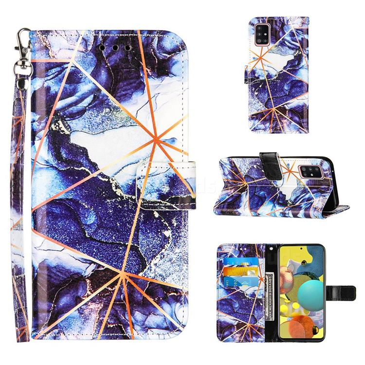 Starry Blue Stitching Color Marble Leather Wallet Case for Samsung Galaxy A51 5G