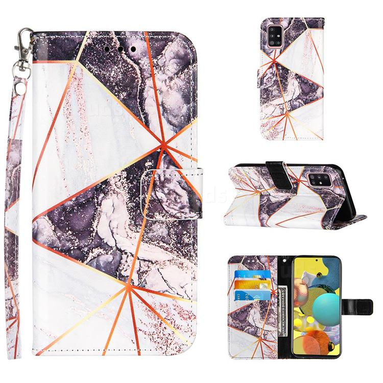 Black and White Stitching Color Marble Leather Wallet Case for Samsung Galaxy A51 5G