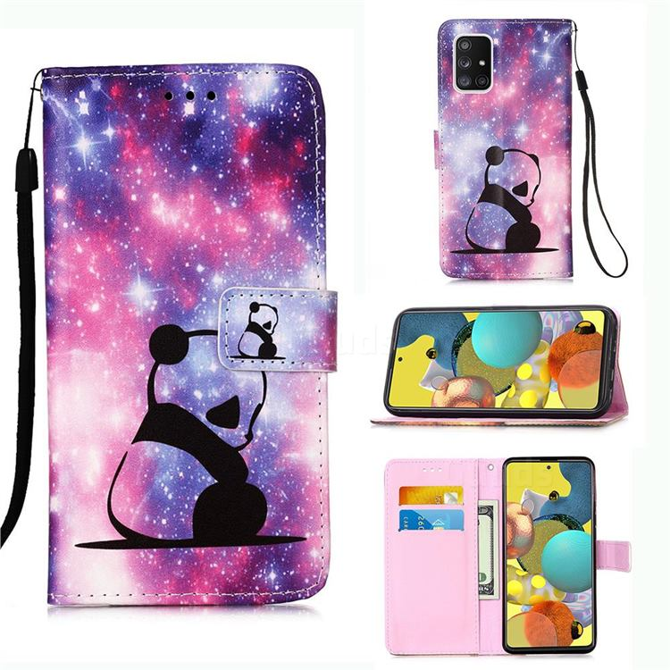 Panda Baby Matte Leather Wallet Phone Case for Samsung Galaxy A51 5G
