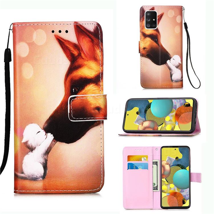 Hound Kiss Matte Leather Wallet Phone Case for Samsung Galaxy A51 5G