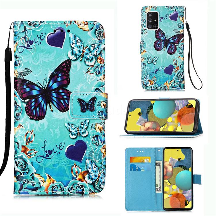 Love Butterfly Matte Leather Wallet Phone Case for Samsung Galaxy A51 5G