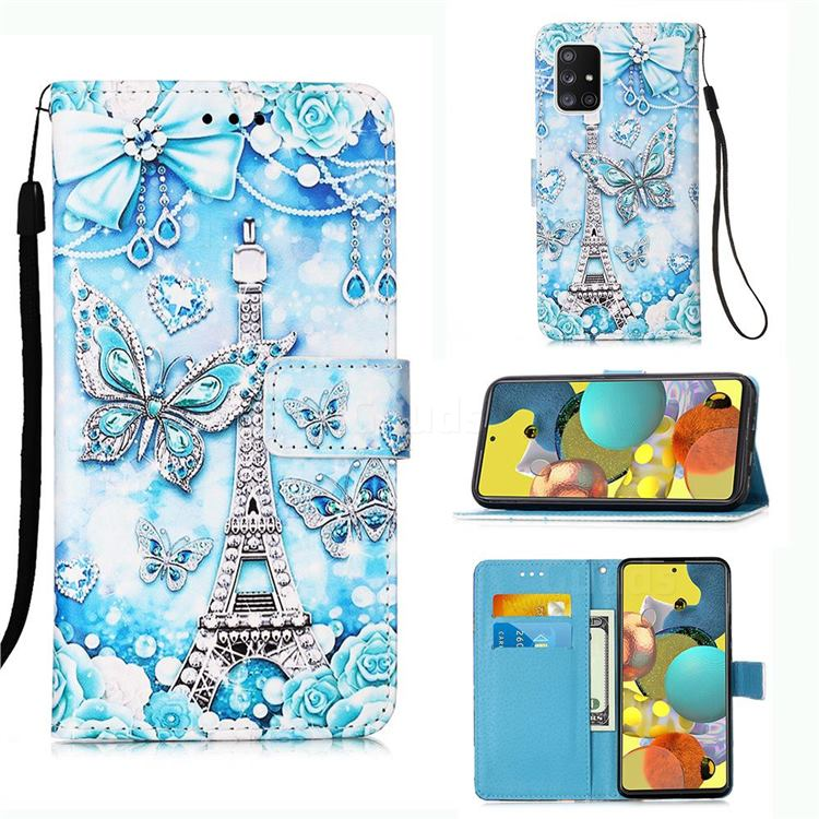 Tower Butterfly Matte Leather Wallet Phone Case for Samsung Galaxy A51 5G