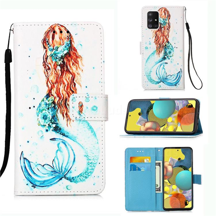 Mermaid Matte Leather Wallet Phone Case for Samsung Galaxy A51 5G