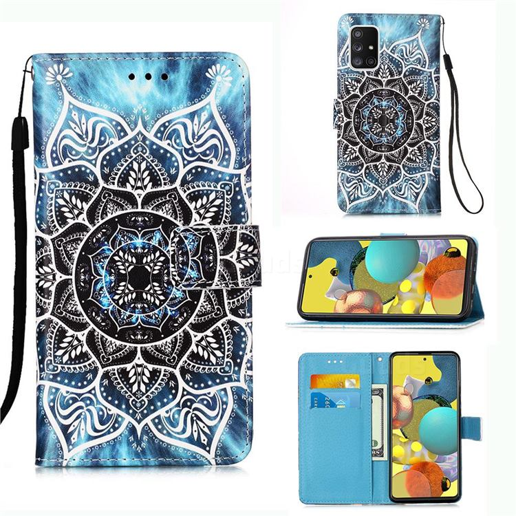 Underwater Mandala Matte Leather Wallet Phone Case for Samsung Galaxy A51 5G