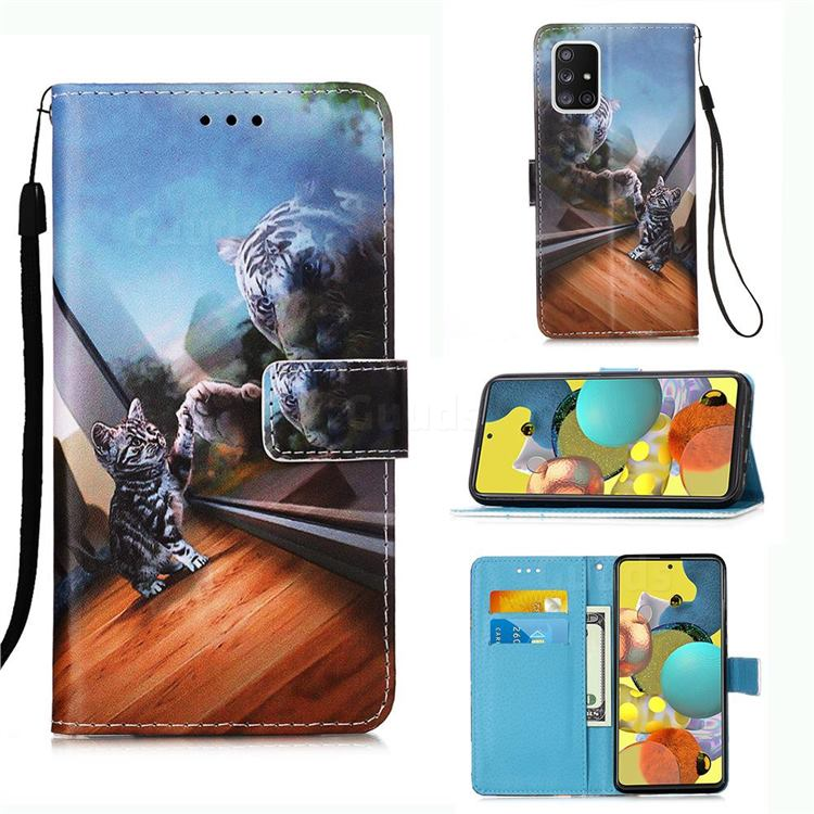 Mirror Cat Matte Leather Wallet Phone Case for Samsung Galaxy A51 5G