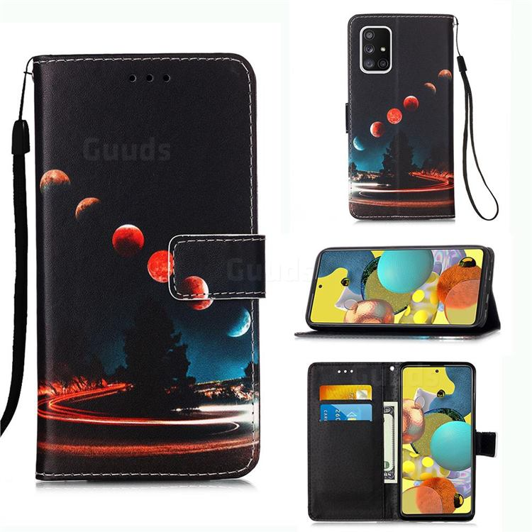 Wandering Earth Matte Leather Wallet Phone Case for Samsung Galaxy A51 5G