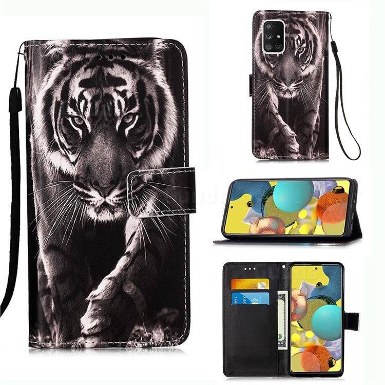 Black and White Tiger Matte Leather Wallet Phone Case for Samsung Galaxy A51 5G