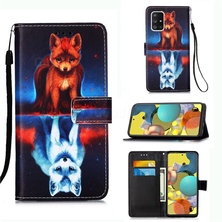 Water Fox Matte Leather Wallet Phone Case for Samsung Galaxy A51 5G
