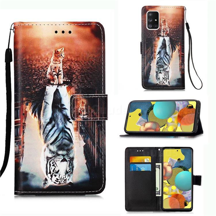 Cat and Tiger Matte Leather Wallet Phone Case for Samsung Galaxy A51 5G