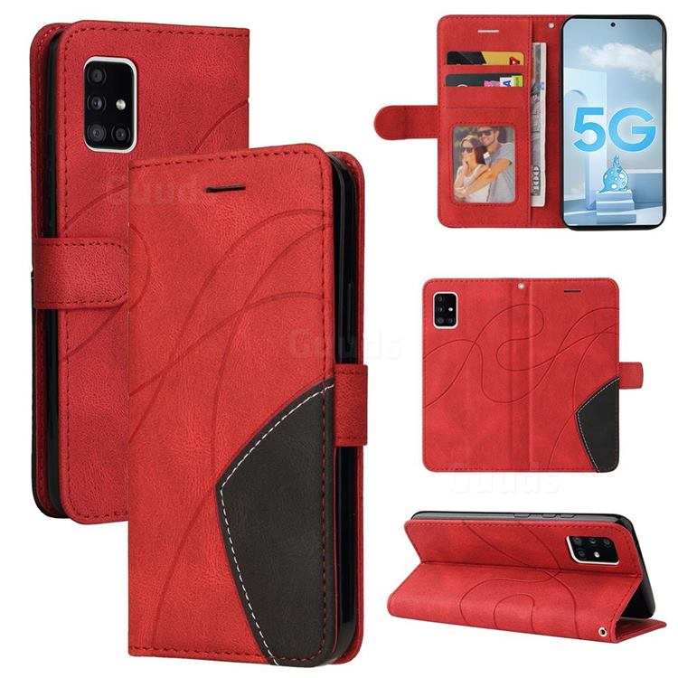 Luxury Two-color Stitching Leather Wallet Case Cover for Samsung Galaxy A51 5G - Red