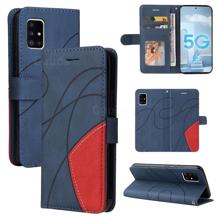 Luxury Two-color Stitching Leather Wallet Case Cover for Samsung Galaxy A51 5G - Blue