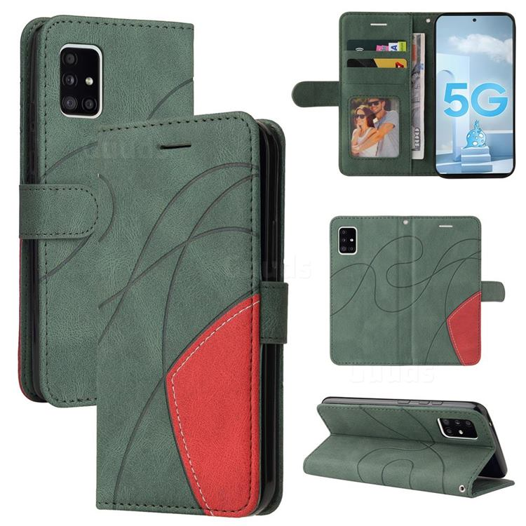 Luxury Two-color Stitching Leather Wallet Case Cover for Samsung Galaxy A51 5G - Green
