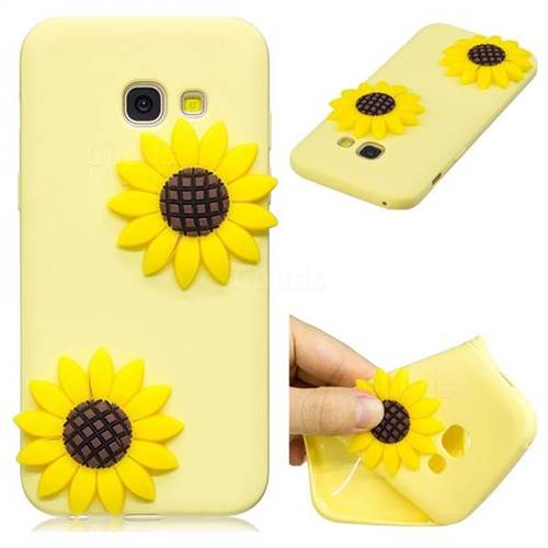 Yellow Sunflower Soft 3D Silicone Case for Samsung Galaxy A5 2017 A520