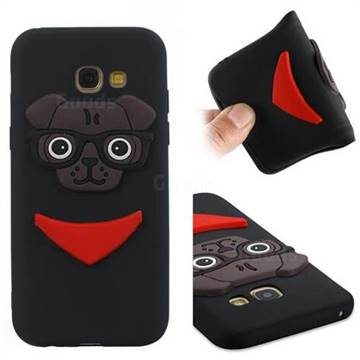 Glasses Dog Soft 3D Silicone Case for Samsung Galaxy A5 2017 A520 - Black
