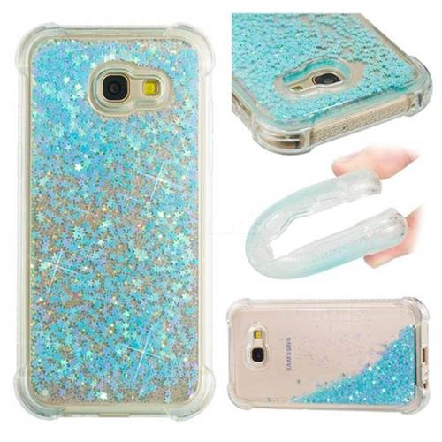 Dynamic Liquid Glitter Sand Quicksand TPU Case for Samsung Galaxy A5 2017 A520 - Silver Blue Star