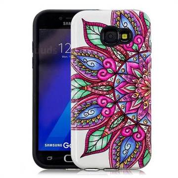 Mandara Flower Pattern 2 in 1 PC + TPU Glossy Embossed Back Cover for Samsung Galaxy A5 2017 A520