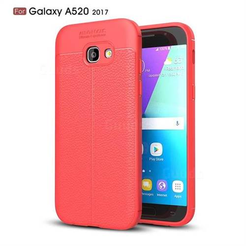 Luxury Auto Focus Litchi Texture Silicone TPU Back Cover for Samsung Galaxy A5 2017 A520 - Red