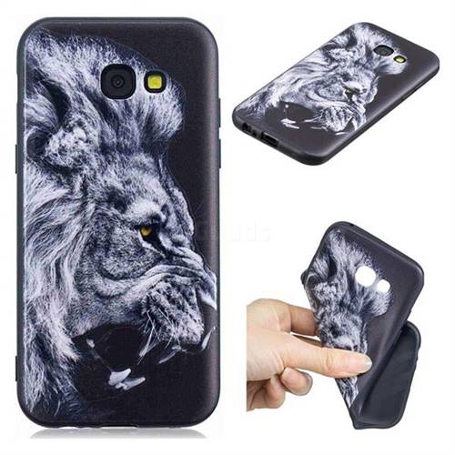 Lion 3D Embossed Relief Black TPU Cell Phone Back Cover for Samsung Galaxy A5 2017 A520
