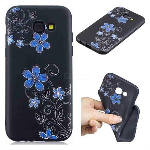 Little Blue Flowers 3D Embossed Relief Black TPU Cell Phone Back Cover for Samsung Galaxy A5 2017 A520
