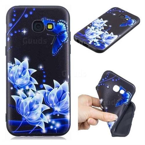 Blue Butterfly 3D Embossed Relief Black TPU Cell Phone Back Cover for Samsung Galaxy A5 2017 A520